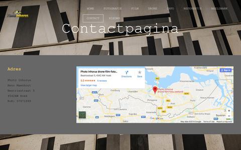 Screenshot of Contact Page photo-inhorus.com - Contact fotograaf  filmmaker zeeland - Photo Inhorus - captured July 18, 2018