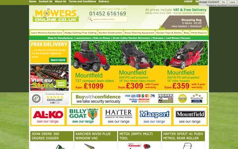 Screenshot of Home Page mowers-online.co.uk - Mowers, Lawnmowers, Lawn Mowers, Garden Machinery from Cheltenham Mowers - captured Jan. 22, 2016