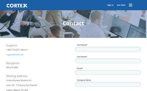 Screenshot of Support Page cortex.net - Contact - captured Sept. 29, 2018