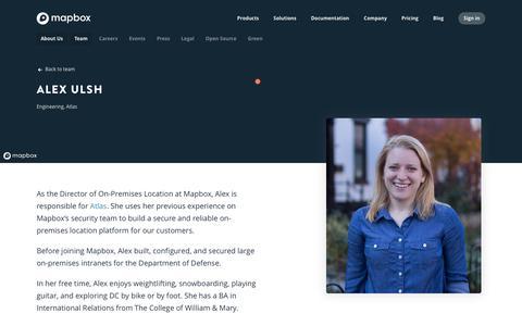 Screenshot of Team Page mapbox.com - Alex Ulsh   Mapbox - captured Feb. 19, 2019
