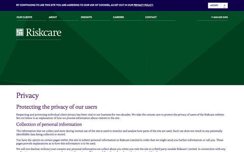Screenshot of Privacy Page riskcare.com - Privacy - Riskcare - captured Sept. 21, 2018