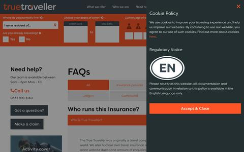 Screenshot of FAQ Page truetraveller.com - FAQ's on our Insurance | True Traveller Insurance - captured Nov. 17, 2017