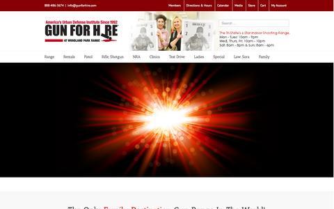 Screenshot of Home Page gunforhire.com - 6 Star Gun Range in NJ - captured Oct. 3, 2014
