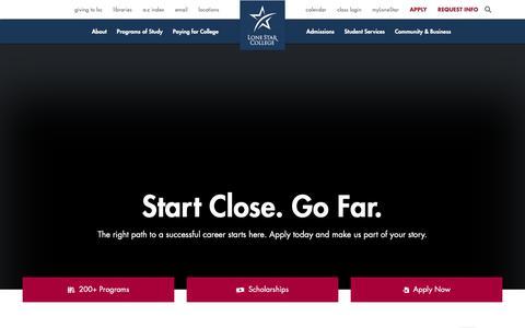 Screenshot of Home Page lonestar.edu - Lone Star College - Start Close. Go Far. - captured May 24, 2019