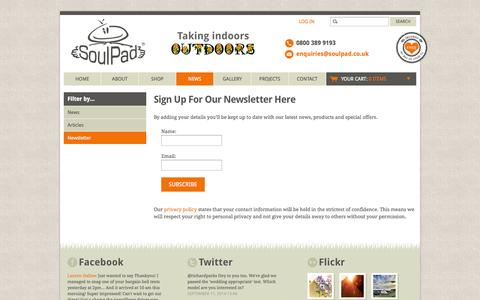 Screenshot of Signup Page soulpad.co.uk - Sign Up For Our Newsletter Here - SoulPad - captured Sept. 19, 2014