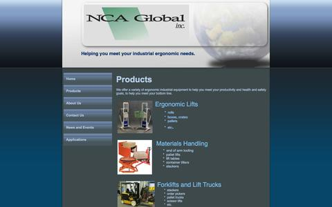 Screenshot of Products Page ncaglobal.com - lift, NCA Global MISSISSAUGA, ON Products - captured March 16, 2016