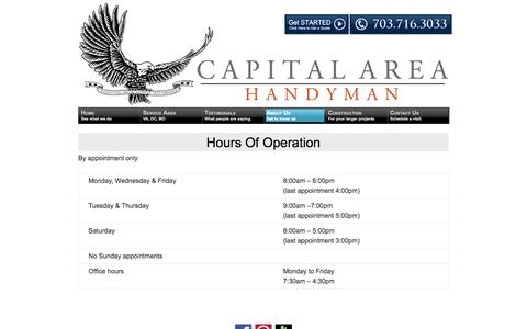 Screenshot of Hours Page capitalareahandyman.com - Hours of Operation | Capital Area Handyman - captured Sept. 27, 2014