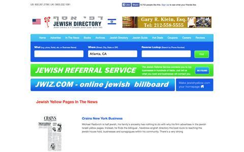 Screenshot of Press Page jewishyellow.com - In The News - Jewish, Jewish Guide, Jewish Directory, Jewish Classified, Kosher, Kosher Guide - captured Sept. 23, 2014