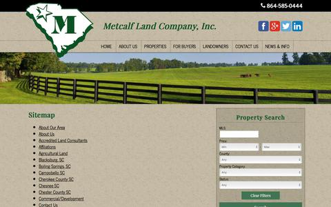 Screenshot of Site Map Page metcalfland.com - Sitemap | Metcalf Land Company Inc - captured Oct. 18, 2017