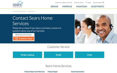 Screenshot of Contact Page searshomeservices.com - Contact Us  | Sears Home Services - captured July 9, 2016