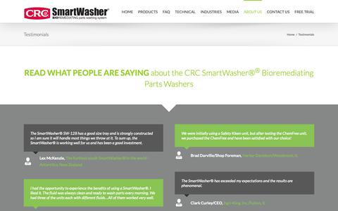 Screenshot of Testimonials Page chemfree.com - Eco-Friendly Parts Washer Testimonials   ChemFree CRC SmartWasher® - captured Sept. 27, 2018