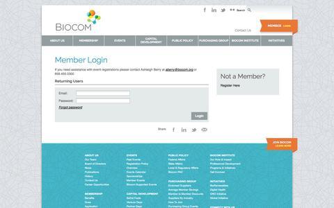 Screenshot of Login Page biocom.org - BIOCOM :: Member Login - captured Sept. 30, 2014