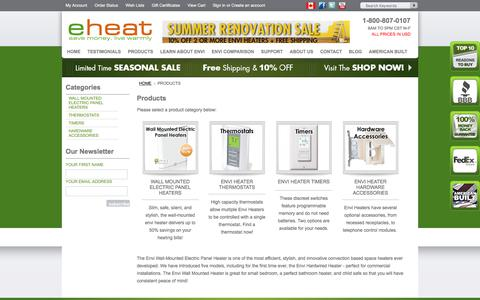 Screenshot of Products Page eheat.com - Envi Heater Products and Accessories | eheat.com - captured July 24, 2018
