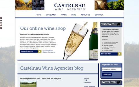 Screenshot of Home Page castelnau.co.uk - Castelnau Wine Agencies | Home - captured Oct. 2, 2014