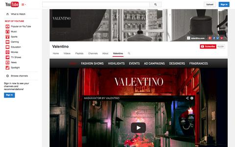 Screenshot of YouTube Page youtube.com - Valentino  - YouTube - captured Oct. 25, 2014