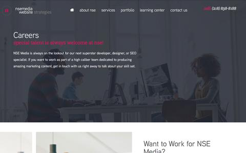 Screenshot of Jobs Page nsemedia.com - Web Design and Web Development Career Opportunities at NSE Media - captured Sept. 21, 2018