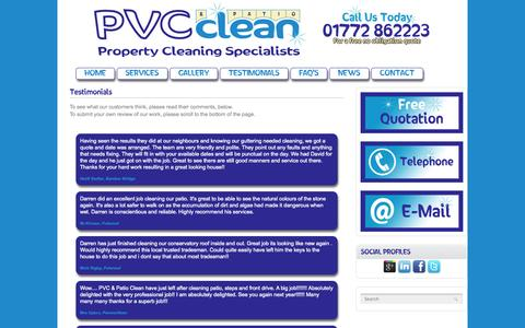 Screenshot of Testimonials Page pvcclean.co.uk - PVC & Patio Clean - Property Cleaning Specialists : Testimonials - captured Oct. 1, 2014