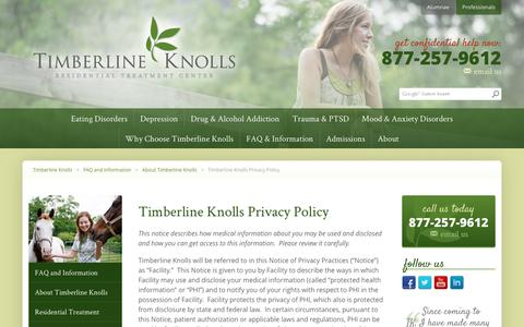 Screenshot of Privacy Page timberlineknolls.com - Privacy Policy - Timberline Knolls - captured Jan. 17, 2016