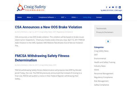 Screenshot of Blog craigsafetytechnologies.com - Blog - captured Sept. 29, 2018