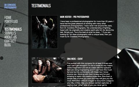 Screenshot of Testimonials Page drcowlicksphotography.com - TESTIMONIALS - Dr Cowlicks PhotographyDr Cowlicks Photography - captured Sept. 30, 2014