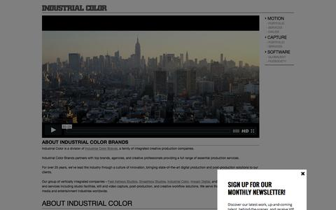 Screenshot of About Page industrialcolor.com - About Industrial Color Services: Digital Capture, Video and Still Photo Production NY/LA/Miami | Industrial Color - captured Aug. 5, 2016
