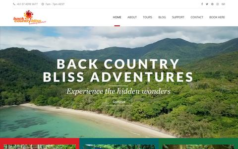 Screenshot of Home Page backcountrybliss.com.au - Explore the Daintree Rainforest - Back Country Bliss Adventures - captured Dec. 18, 2018
