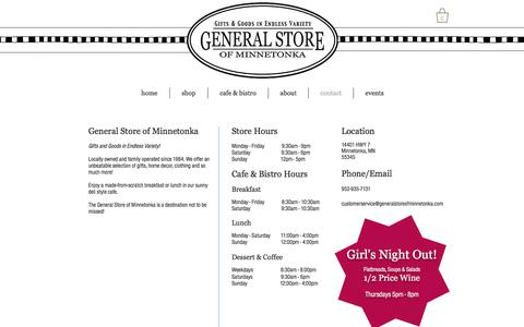 Screenshot of Contact Page Hours Page generalstoreofminnetonka.com - Hours, Directions | General Store of Minnetonka - captured July 3, 2018
