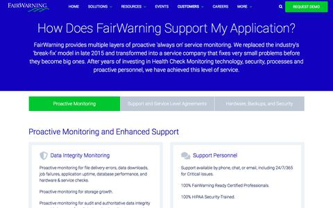 Screenshot of Support Page fairwarning.com - How Does FairWarning Support My Application? | FairWarning - captured Aug. 14, 2019