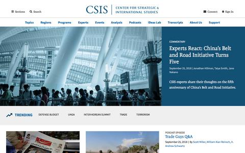 Screenshot of Home Page csis.org - Center for Strategic and International Studies | - captured Sept. 25, 2018