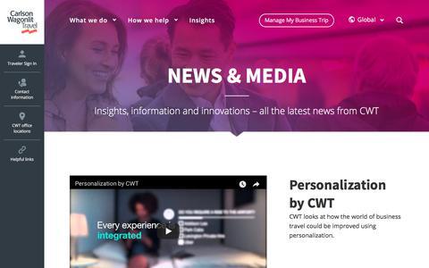 Screenshot of Press Page carlsonwagonlit.com - News & media - Carlson Wagonlit Travel - captured Nov. 18, 2017