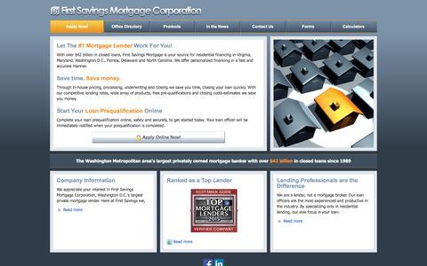 Screenshot of Home Page Menu Page firstsavingsmortgage.com - First Savings Mortgage Corporation - Your Washington Metropolitan Lender - captured Nov. 25, 2016