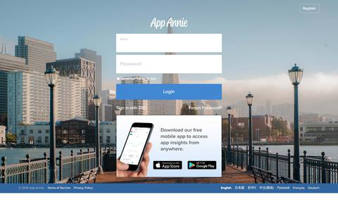 Screenshot of Support Page appannie.com - Login - App Annie - captured July 22, 2019