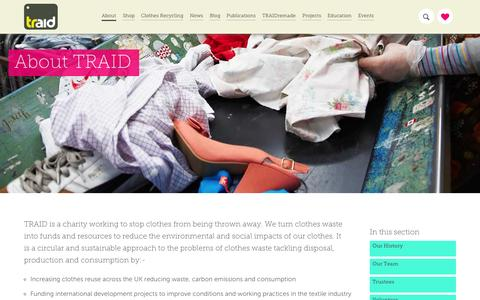 Screenshot of About Page traid.org.uk - About TRAID - TRAID - captured Sept. 30, 2014