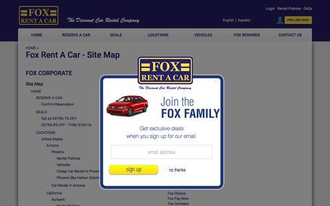 Screenshot of Site Map Page foxrentacar.com - Fox Rent A Car - Sitemap - captured Sept. 13, 2016