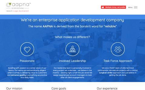 Screenshot of About Page aapnainfotech.com - Web Development Company - AAPNA Infotech - captured Oct. 2, 2018