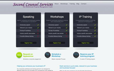 Screenshot of Services Page secondcounsel.com - Second Counsel Services |   Services - captured Oct. 6, 2014