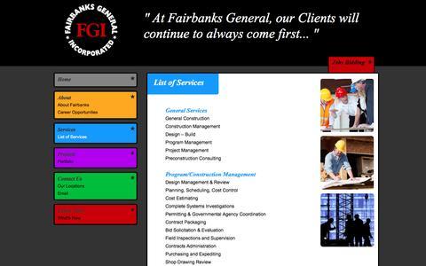 Screenshot of Services Page fairbanksgeneral.com - Fairbanks General Incorporated, General Contractors Services, Program / Construction Management - captured Nov. 24, 2016