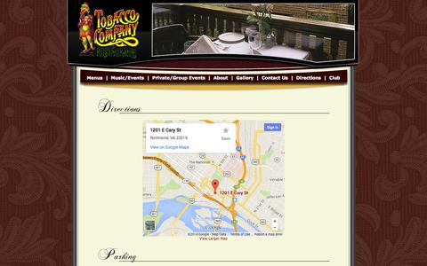 Screenshot of Maps & Directions Page thetobaccocompany.com - The Tobacco Company Restaurant - captured Oct. 6, 2014