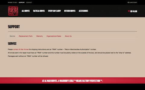 Screenshot of About Page FAQ Page Support Page almarknives.com - Support - Al Mar Knives - captured Oct. 23, 2014