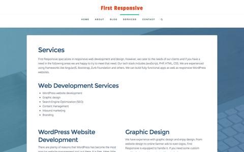 Screenshot of Services Page firstresponsive.com - Services - First Responsive - captured Jan. 8, 2016