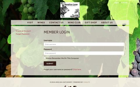 Screenshot of Login Page javelinaleapwinery.com - Javelina Leap Winery - Member Login - captured March 1, 2018