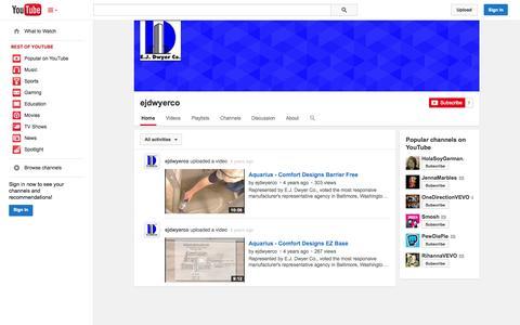 Screenshot of YouTube Page youtube.com - ejdwyerco  - YouTube - captured Oct. 22, 2014