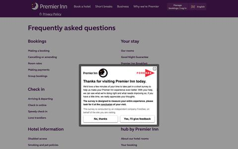 Screenshot of FAQ Page premierinn.com - Frequently Asked Questions | Premier Inn - captured Sept. 28, 2018