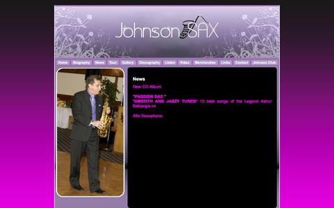 Screenshot of Press Page johnsonsax.com - J o h n s o n  S a x - News - captured April 9, 2017
