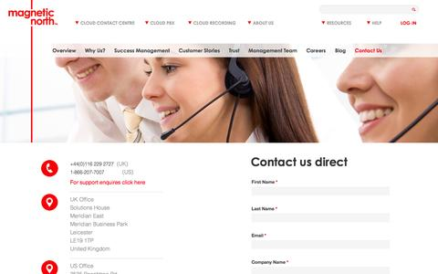Screenshot of Contact Page magneticnorth.com - Contact details for Magnetic North Cloud Communications. - captured Sept. 23, 2014
