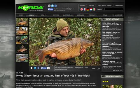 Screenshot of Press Page korda.co.uk - Myles Gibson lands an amazing haul of four 40s in two trips! | News | Korda - captured Feb. 12, 2016