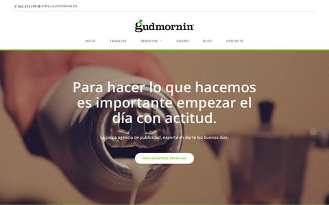 Screenshot of Home Page gudmornin.es - Gudmornin. Agencia de publicidad creativa en Jaén - captured Jan. 25, 2016