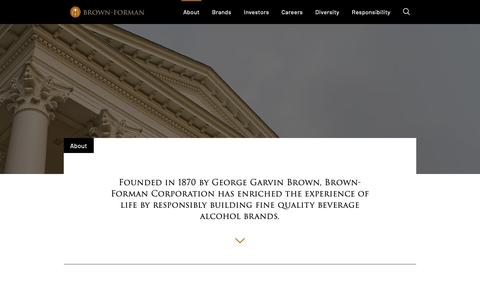 Screenshot of About Page brown-forman.com - About - Brown-Forman - captured June 12, 2019