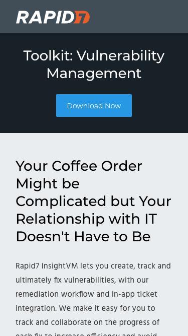 Screenshot of Landing Page  rapid7.com - Vulnerability Management Toolkit | Rapid7