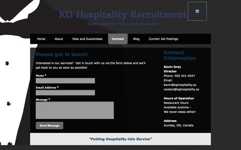 Screenshot of Contact Page kghospitality.ca - KG Hospitality Recruitment - Contact - captured Oct. 14, 2018
